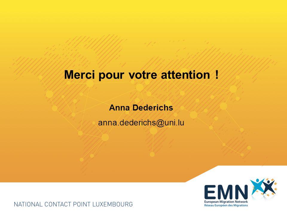 Merci pour votre attention ! Anna Dederichs anna.dederichs@uni.lu