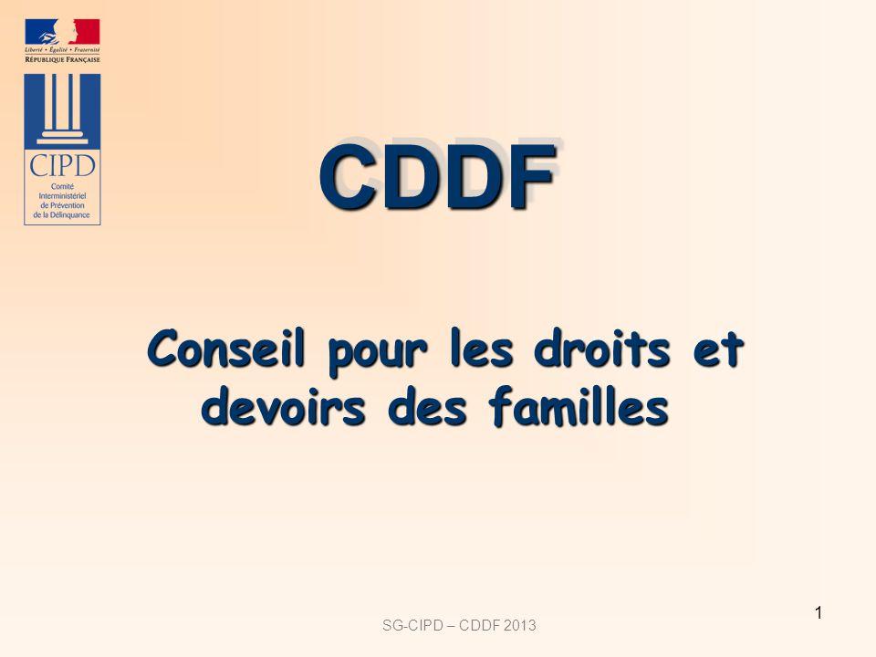 SG-CIPD – CDDF 2013 1 Conseil pour les droits et devoirs des familles Conseil pour les droits et devoirs des familles CDDFCDDF