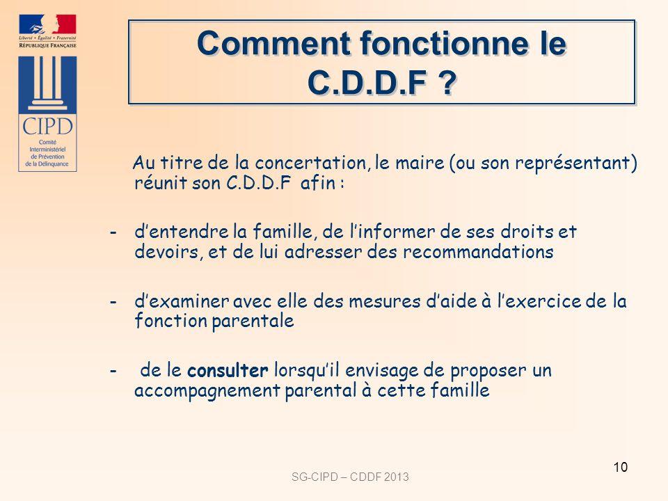 SG-CIPD – CDDF 2013 10 Comment fonctionne le C.D.D.F ? Au titre de la concertation, le maire (ou son représentant) réunit son C.D.D.F afin : -dentendr