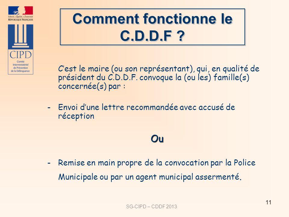 SG-CIPD – CDDF 2013 11 Cest le maire (ou son représentant), qui, en qualité de président du C.D.D.F.