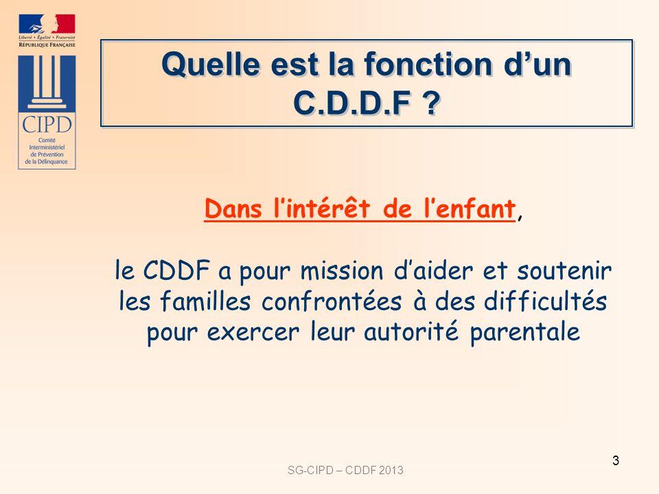 SG-CIPD – CDDF 2013 3 Quelle est la fonction dun C.D.D.F ? Dans lintérêt de lenfant, le CDDF a pour mission daider et soutenir les familles confrontée