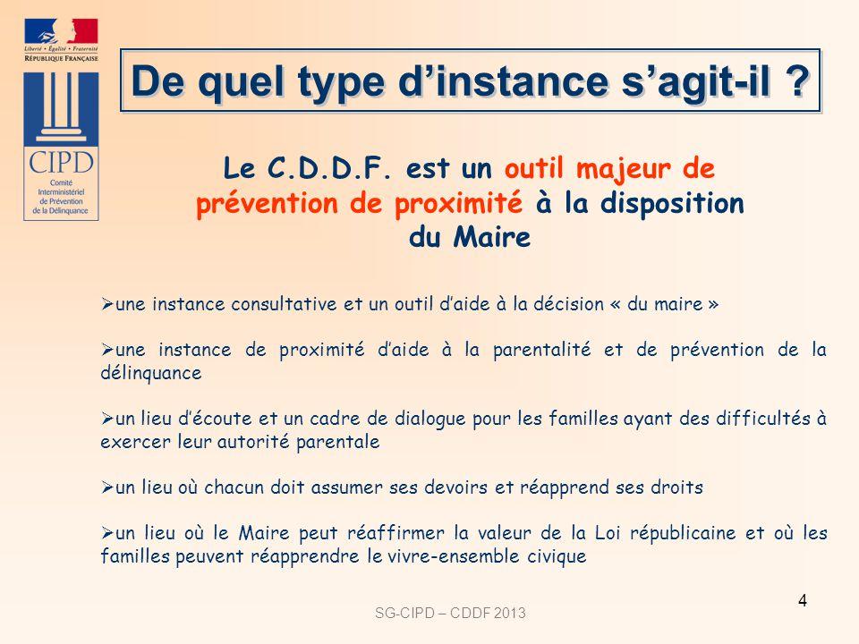SG-CIPD – CDDF 2013 4 une instance consultative et un outil daide à la décision « du maire » une instance de proximité daide à la parentalité et de pr