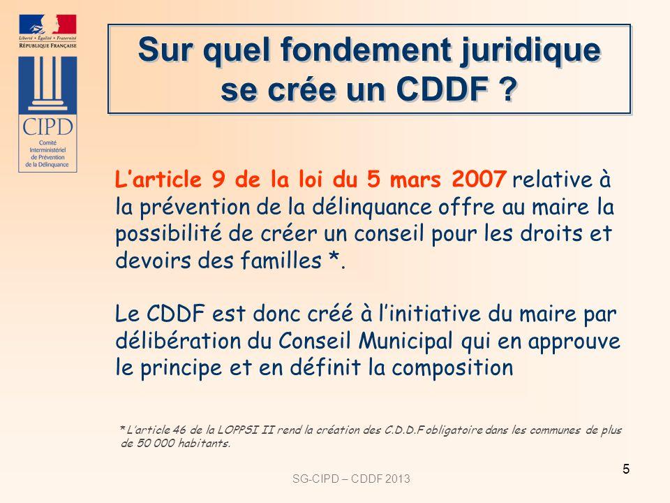 SG-CIPD – CDDF 2013 5 Larticle 9 de la loi du 5 mars 2007 relative à la prévention de la délinquance offre au maire la possibilité de créer un conseil