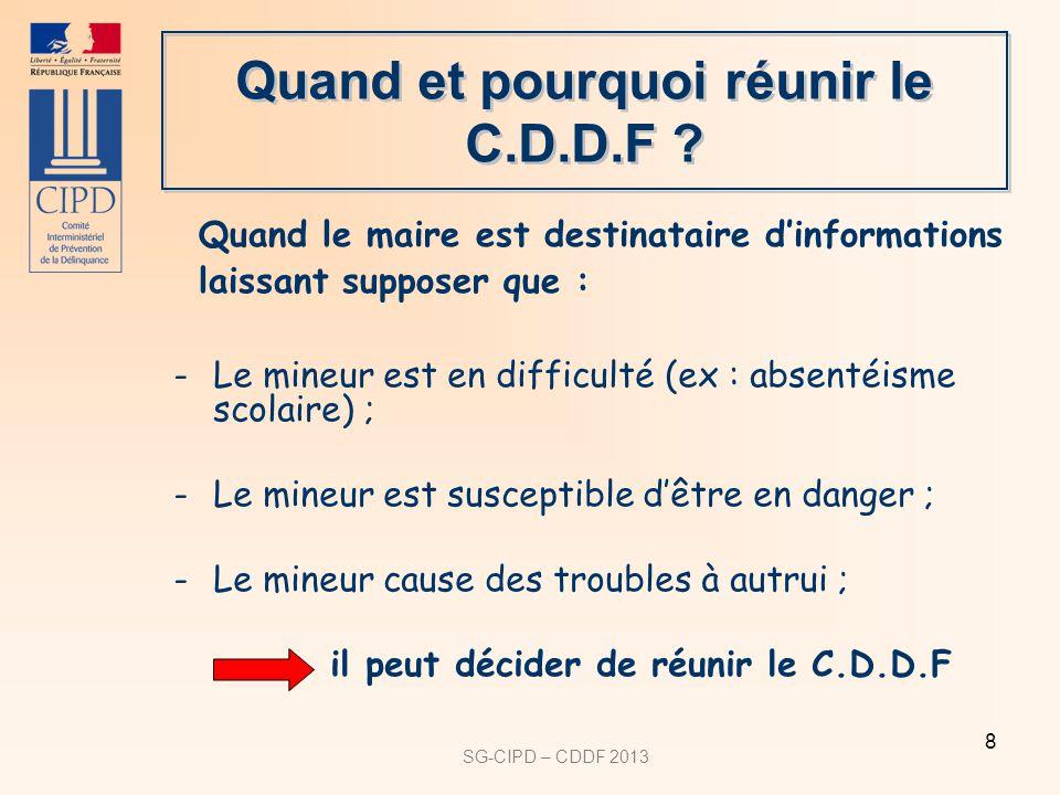 SG-CIPD – CDDF 2013 8 Quand et pourquoi réunir le C.D.D.F ? -Le mineur est en difficulté (ex : absentéisme scolaire) ; -Le mineur est susceptible dêtr