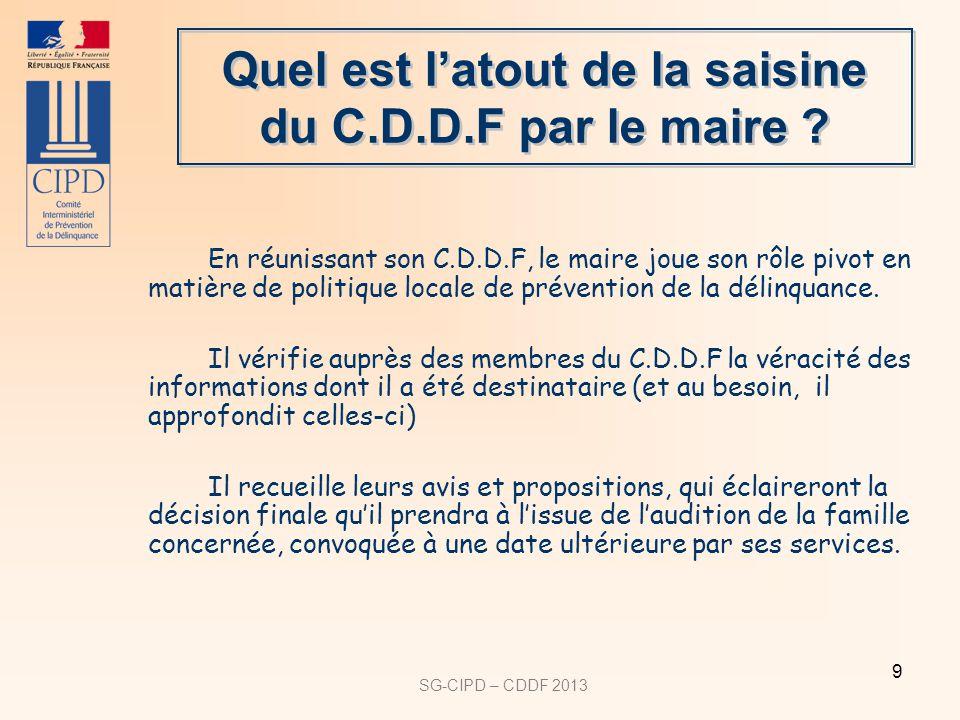 SG-CIPD – CDDF 2013 9 Quel est latout de la saisine du C.D.D.F par le maire ? En réunissant son C.D.D.F, le maire joue son rôle pivot en matière de po