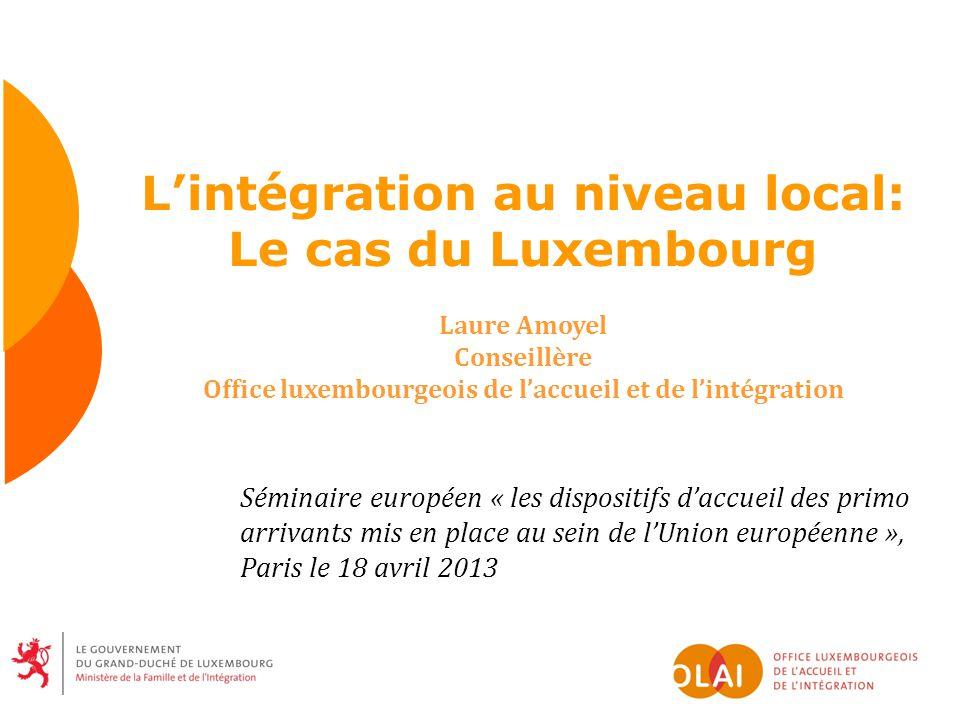 Lintégration au niveau local: Le cas du Luxembourg Laure Amoyel Conseillère Office luxembourgeois de laccueil et de lintégration Séminaire européen «