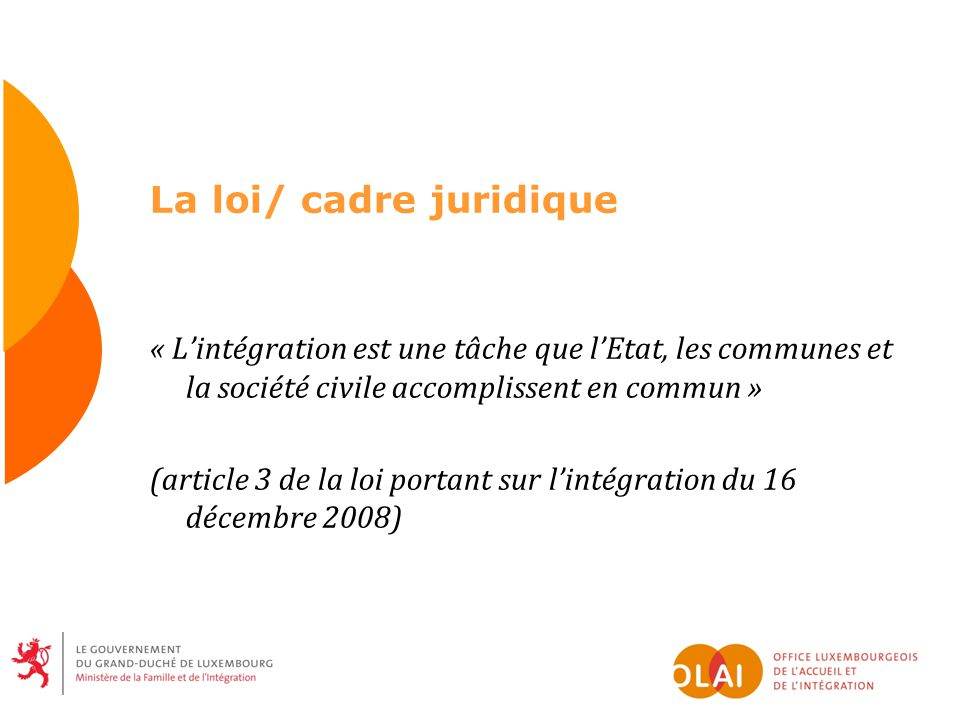 La loi/ cadre juridique « Lintégration est une tâche que lEtat, les communes et la société civile accomplissent en commun » (article 3 de la loi porta