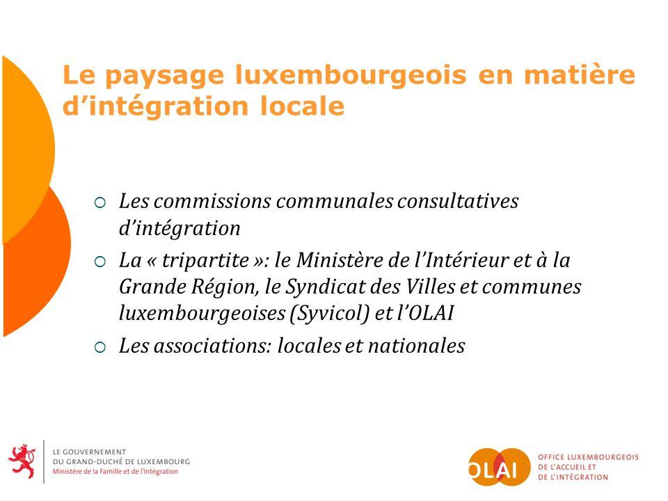 Le paysage luxembourgeois en matière dintégration locale Les commissions communales consultatives dintégration La « tripartite »: le Ministère de lInt