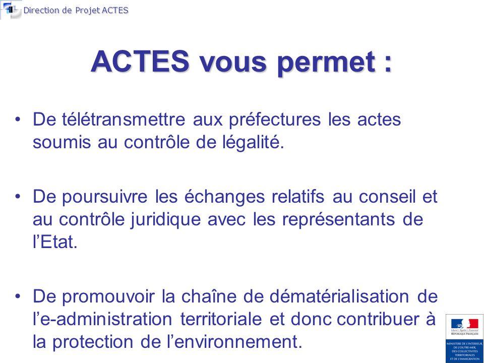 Direction de Projet ACTES ACTES vous permet : De télétransmettre aux préfectures les actes soumis au contrôle de légalité.