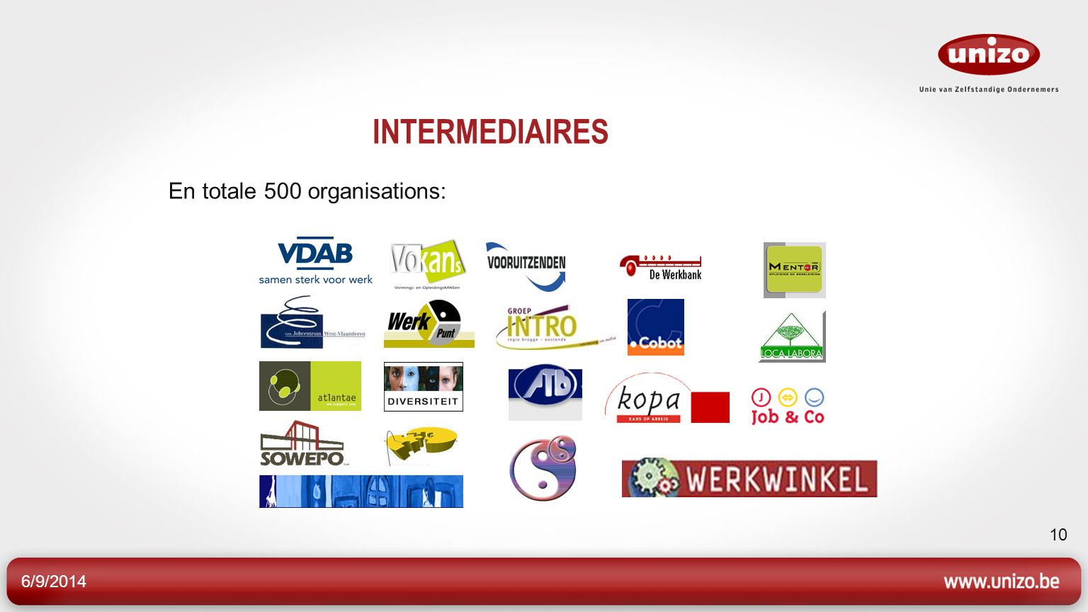 6/9/2014 10 INTERMEDIAIRES En totale 500 organisations: