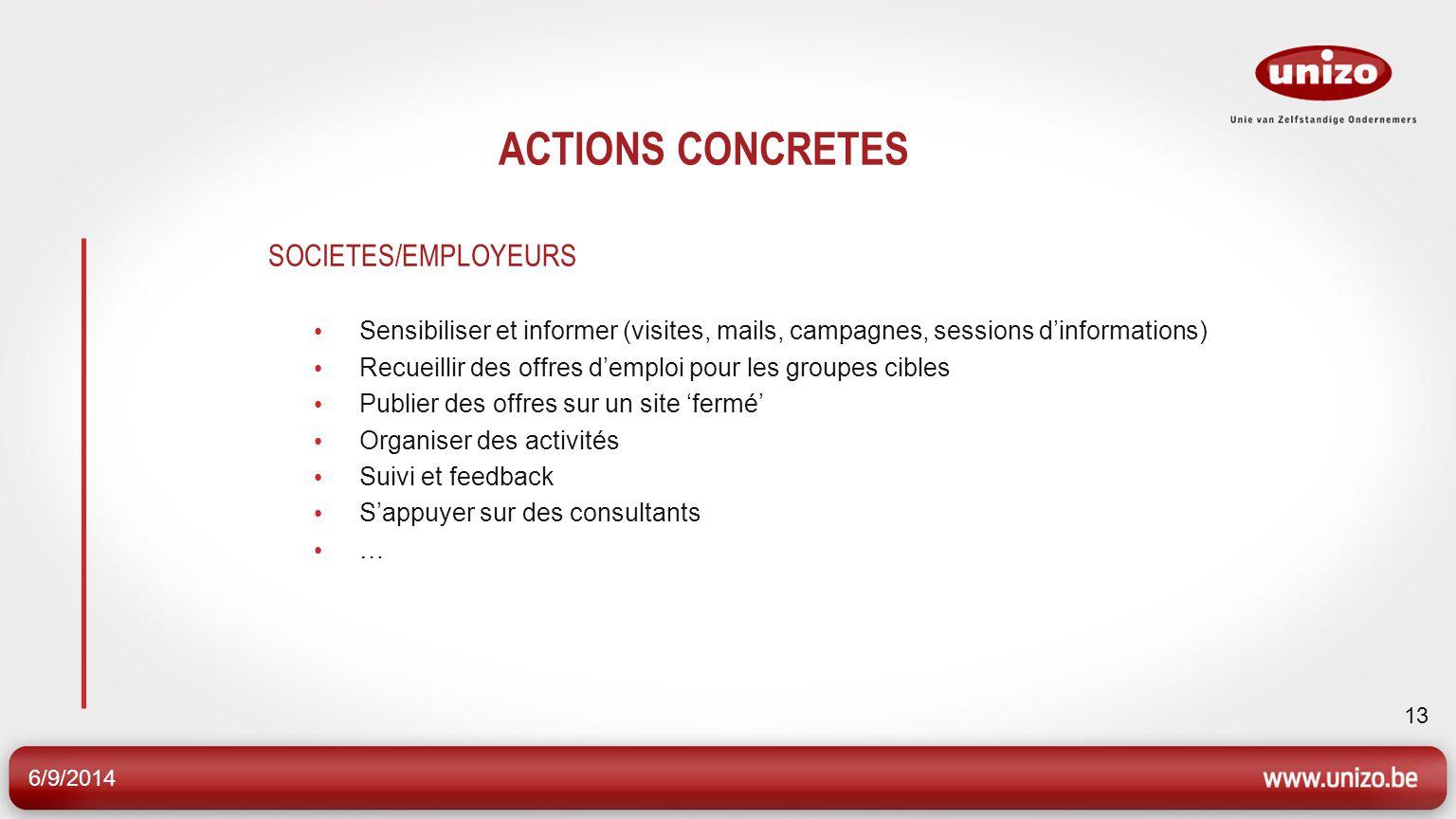 6/9/2014 13 ACTIONS CONCRETES SOCIETES/EMPLOYEURS Sensibiliser et informer (visites, mails, campagnes, sessions dinformations) Recueillir des offres d