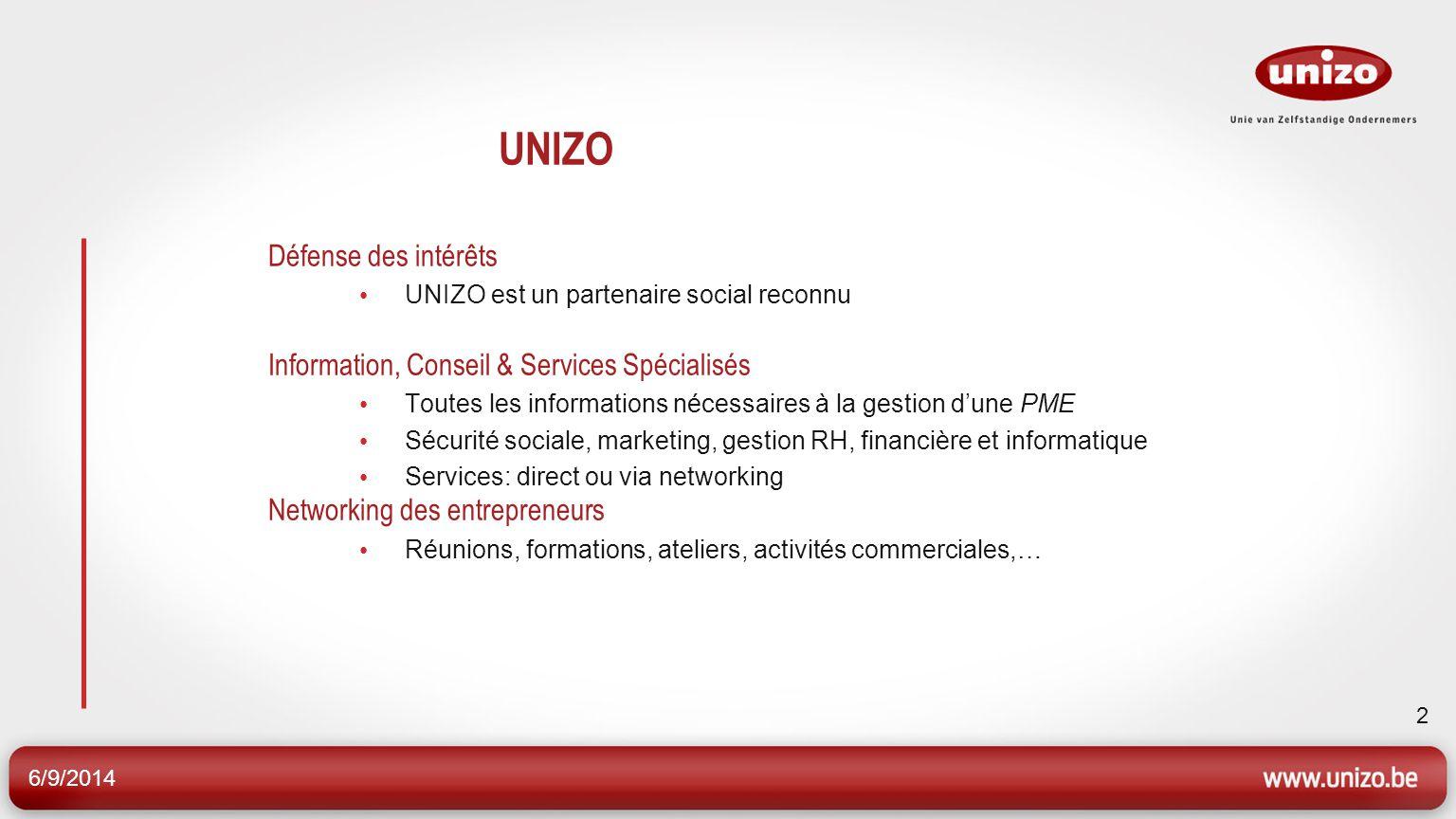 6/9/2014 2 UNIZO Défense des intérêts UNIZO est un partenaire social reconnu Information, Conseil & Services Spécialisés Toutes les informations néces
