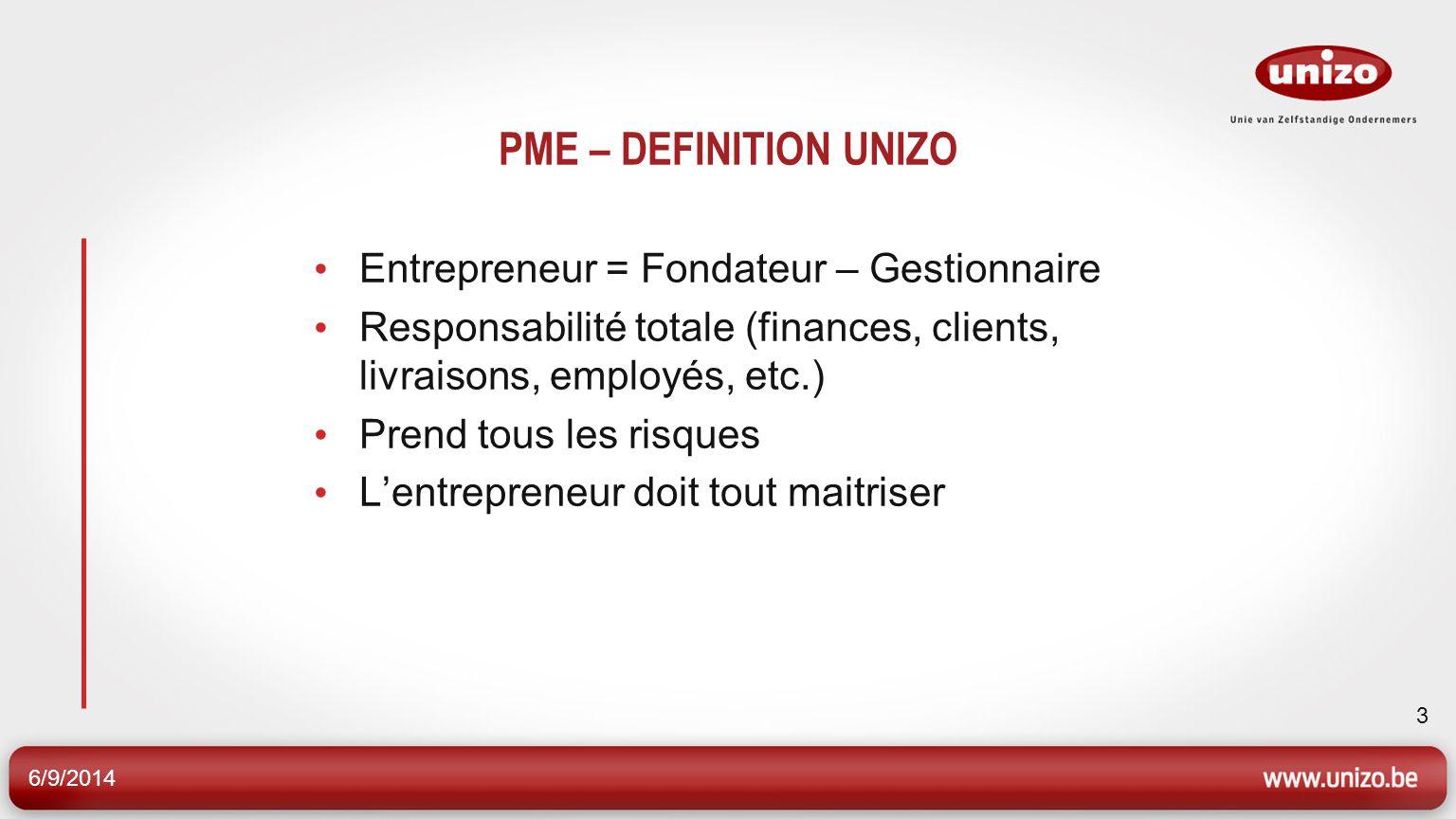 6/9/2014 3 PME – DEFINITION UNIZO Entrepreneur = Fondateur – Gestionnaire Responsabilité totale (finances, clients, livraisons, employés, etc.) Prend