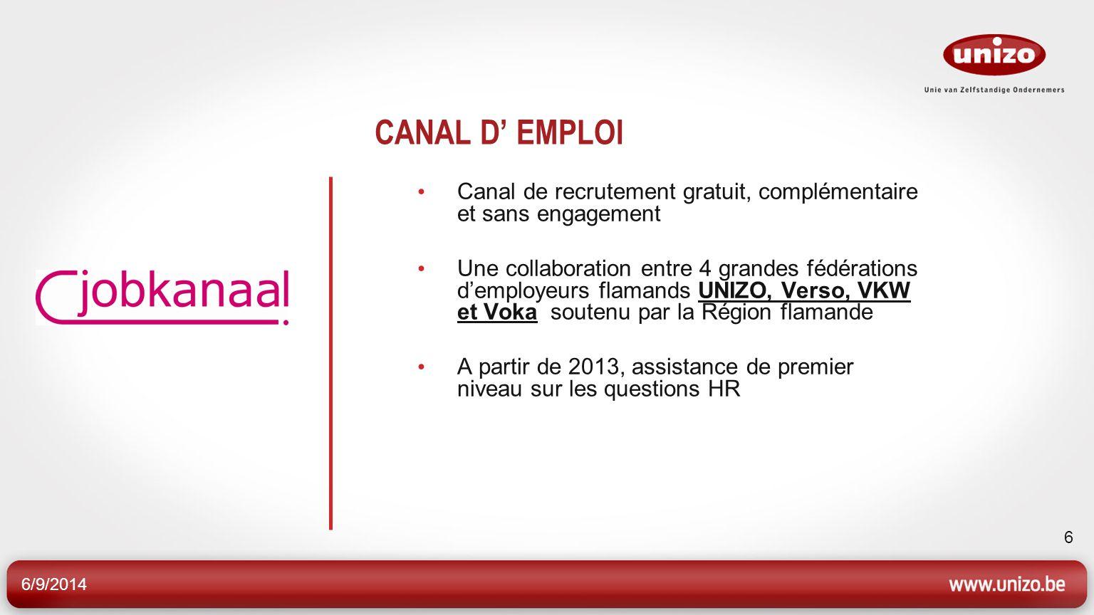 6/9/2014 6 CANAL D EMPLOI Canal de recrutement gratuit, complémentaire et sans engagement Une collaboration entre 4 grandes fédérations demployeurs fl