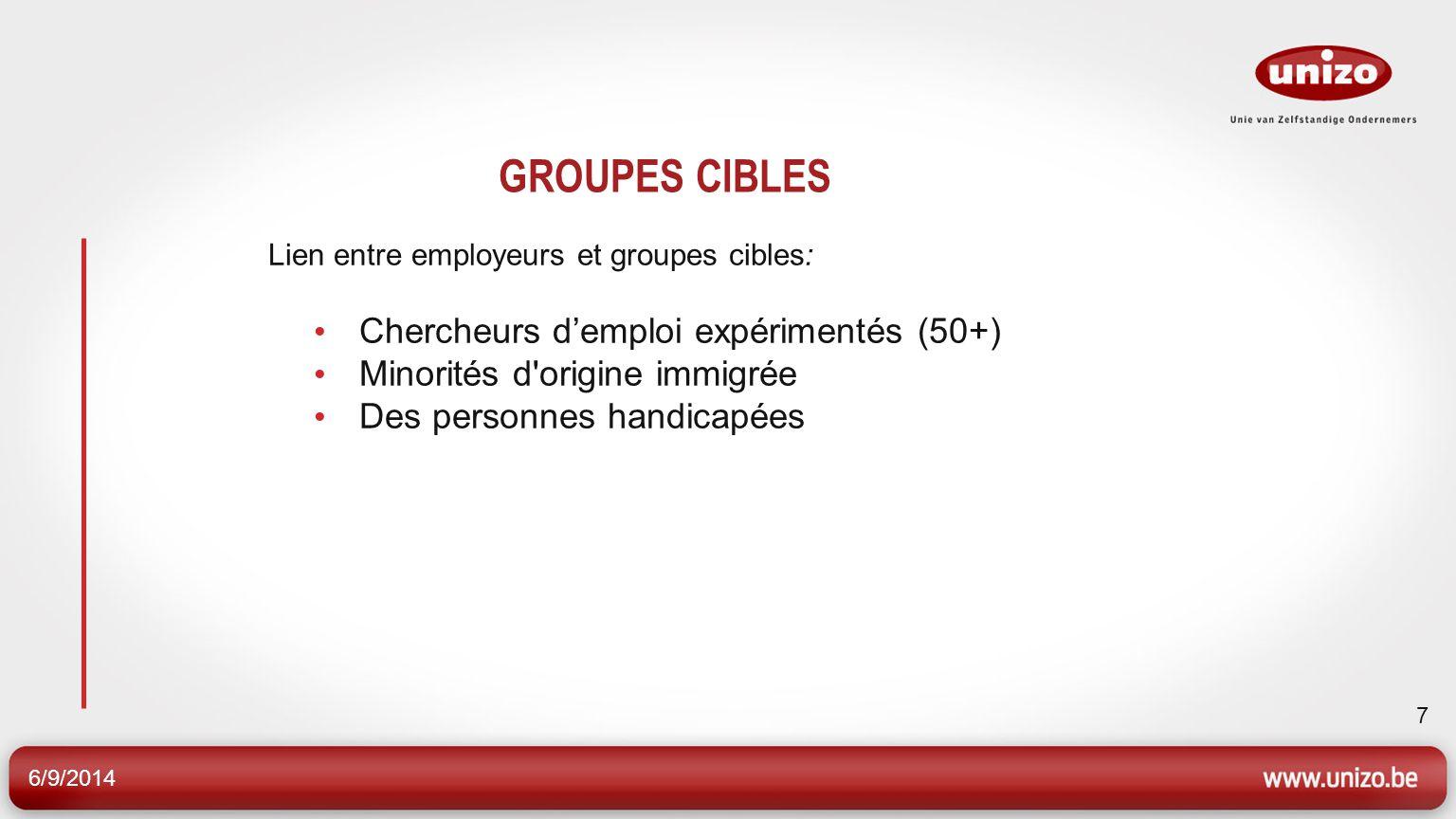 6/9/2014 7 GROUPES CIBLES Lien entre employeurs et groupes cibles: Chercheurs demploi expérimentés (50+) Minorités d'origine immigrée Des personnes ha