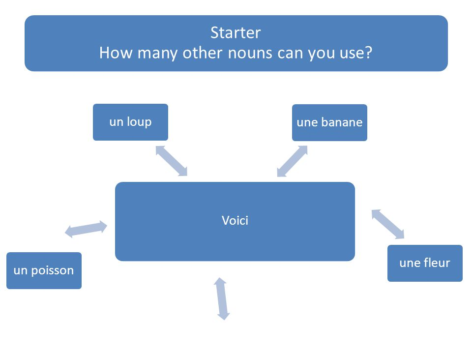 Starter How many other nouns can you use Voici une bananeune fleurun poissonun loup