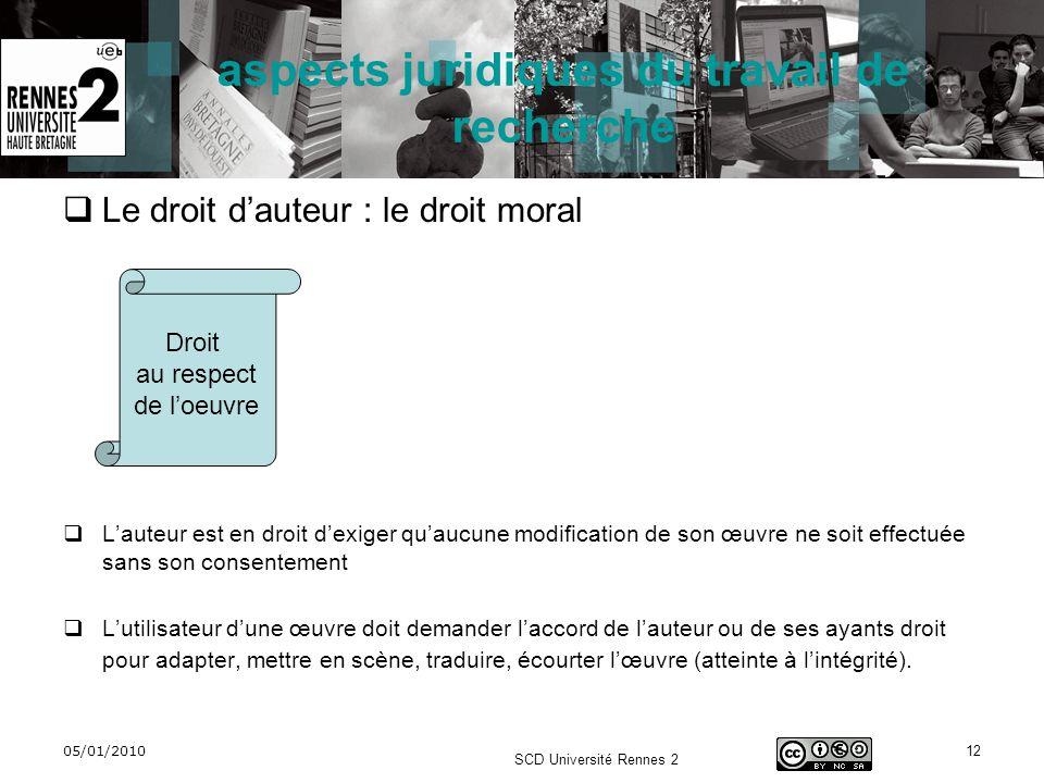 05/01/2010 SCD Université Rennes 2 12 aspects juridiques du travail de recherche Le droit dauteur : le droit moral Lauteur est en droit dexiger quaucu