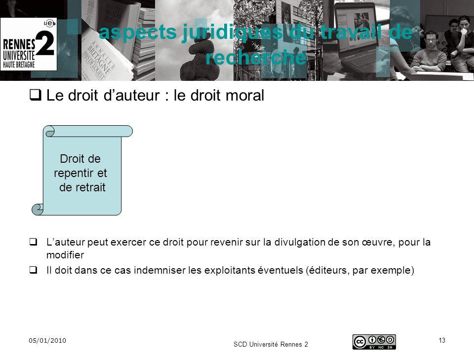05/01/2010 SCD Université Rennes 2 13 aspects juridiques du travail de recherche Le droit dauteur : le droit moral Lauteur peut exercer ce droit pour