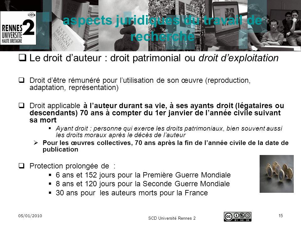 05/01/2010 SCD Université Rennes 2 15 aspects juridiques du travail de recherche Le droit dauteur : droit patrimonial ou droit dexploitation Droit dêt