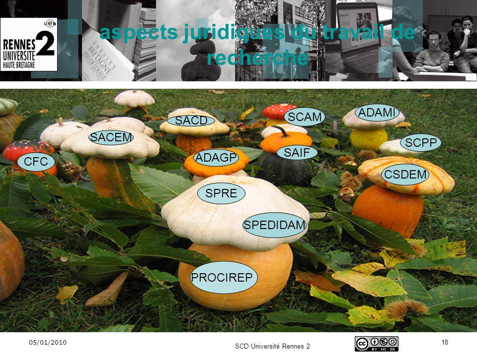 05/01/2010 SCD Université Rennes 2 18 SACEM SCAM SCPP SACD SPEDIDAM CSDEM ADAMI SAIF CFC ADAGP aspects juridiques du travail de recherche SPRE PROCIRE