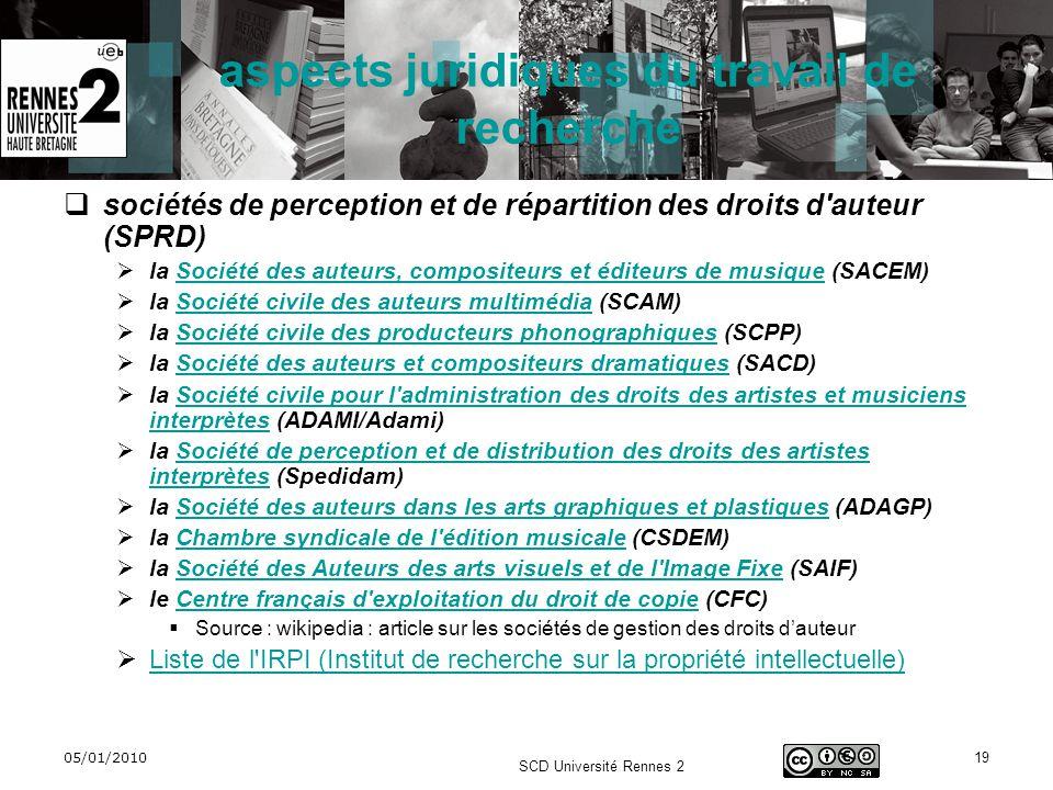 05/01/2010 SCD Université Rennes 2 19 aspects juridiques du travail de recherche sociétés de perception et de répartition des droits d'auteur (SPRD) l