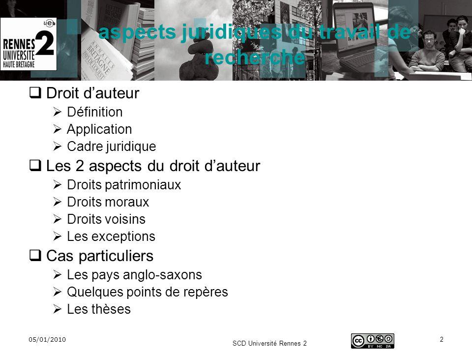 05/01/2010 SCD Université Rennes 2 2 aspects juridiques du travail de recherche Droit dauteur Définition Application Cadre juridique Les 2 aspects du