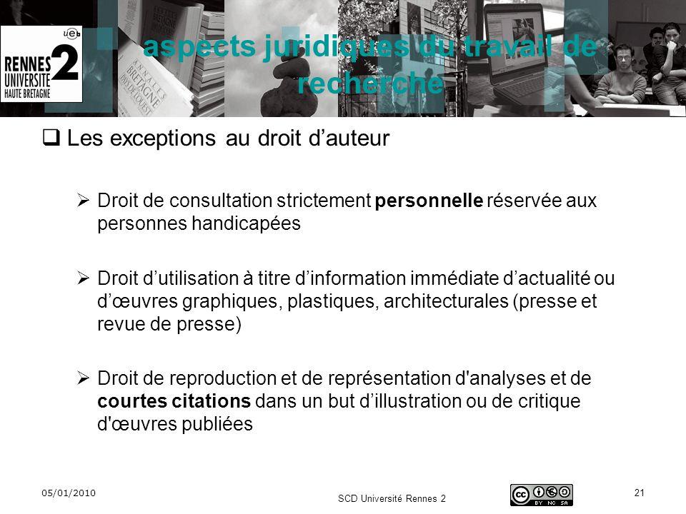 05/01/2010 SCD Université Rennes 2 21 aspects juridiques du travail de recherche Les exceptions au droit dauteur Droit de consultation strictement per