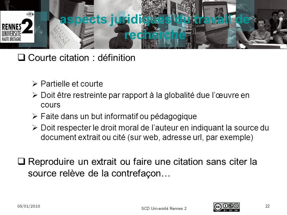 05/01/2010 SCD Université Rennes 2 22 aspects juridiques du travail de recherche Courte citation : définition Partielle et courte Doit être restreinte