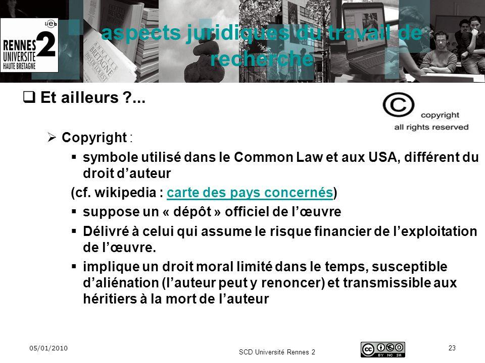 05/01/2010 SCD Université Rennes 2 23 aspects juridiques du travail de recherche Et ailleurs ?... Copyright : symbole utilisé dans le Common Law et au