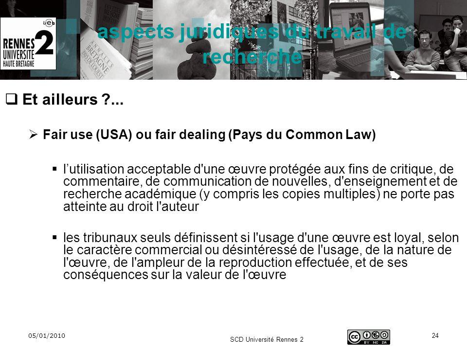 05/01/2010 SCD Université Rennes 2 24 aspects juridiques du travail de recherche Et ailleurs ?... Fair use (USA) ou fair dealing (Pays du Common Law)