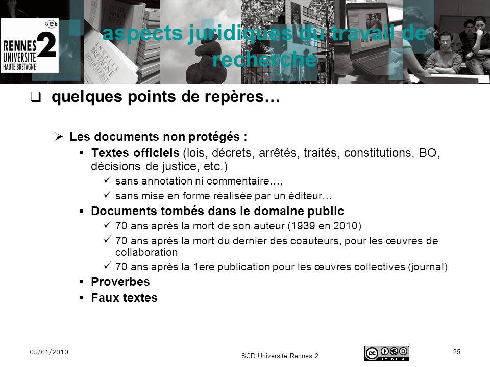 05/01/2010 SCD Université Rennes 2 25 aspects juridiques du travail de recherche quelques points de repères… Les documents non protégés : Textes offic