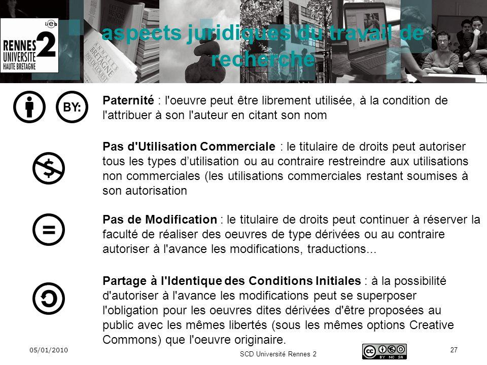 05/01/2010 SCD Université Rennes 2 27 aspects juridiques du travail de recherche Paternité : l'oeuvre peut être librement utilisée, à la condition de