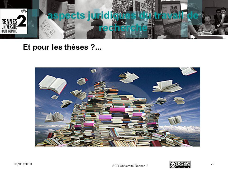 05/01/2010 SCD Université Rennes 2 29 aspects juridiques du travail de recherche Et pour les thèses ?...