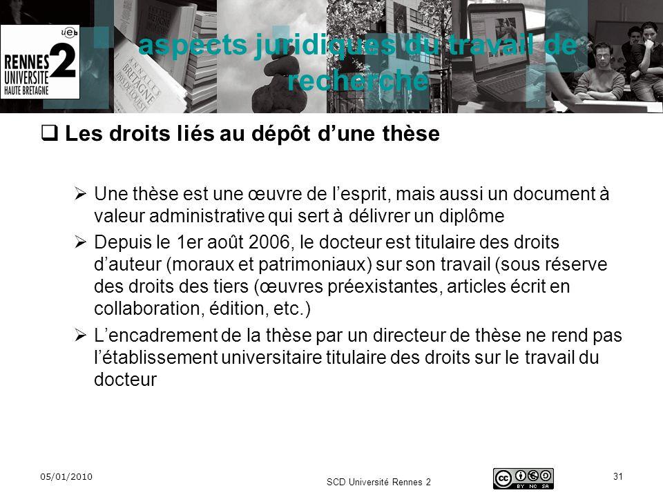 05/01/2010 SCD Université Rennes 2 31 aspects juridiques du travail de recherche Les droits liés au dépôt dune thèse Une thèse est une œuvre de lespri