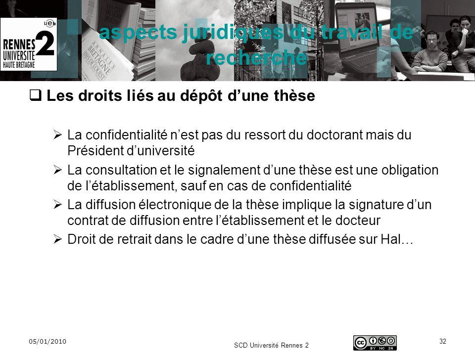 05/01/2010 SCD Université Rennes 2 32 aspects juridiques du travail de recherche Les droits liés au dépôt dune thèse La confidentialité nest pas du re