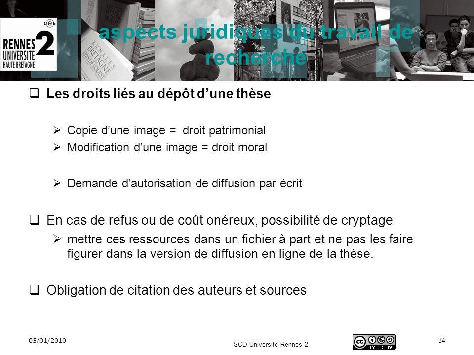 05/01/2010 SCD Université Rennes 2 34 aspects juridiques du travail de recherche Les droits liés au dépôt dune thèse Copie dune image = droit patrimon