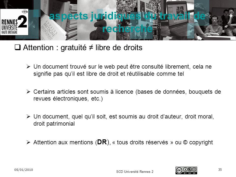 05/01/2010 SCD Université Rennes 2 35 aspects juridiques du travail de recherche Attention : gratuité libre de droits Un document trouvé sur le web pe