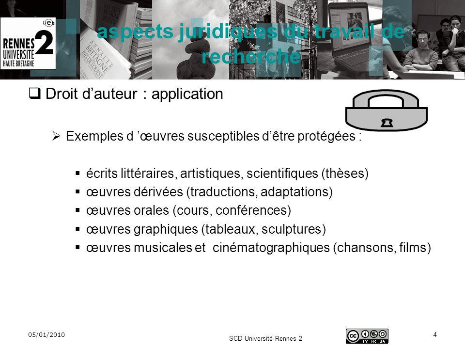 05/01/2010 SCD Université Rennes 2 4 aspects juridiques du travail de recherche Droit dauteur : application Exemples d œuvres susceptibles dêtre proté