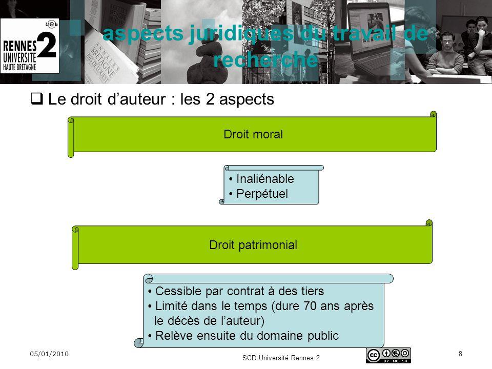 05/01/2010 SCD Université Rennes 2 9 aspects juridiques du travail de recherche Le droit dauteur : le droit moral Droit moral Droit au respect du nom Droit de divulgation Droit au respect de loeuvre Droit de repentir ou de retrait