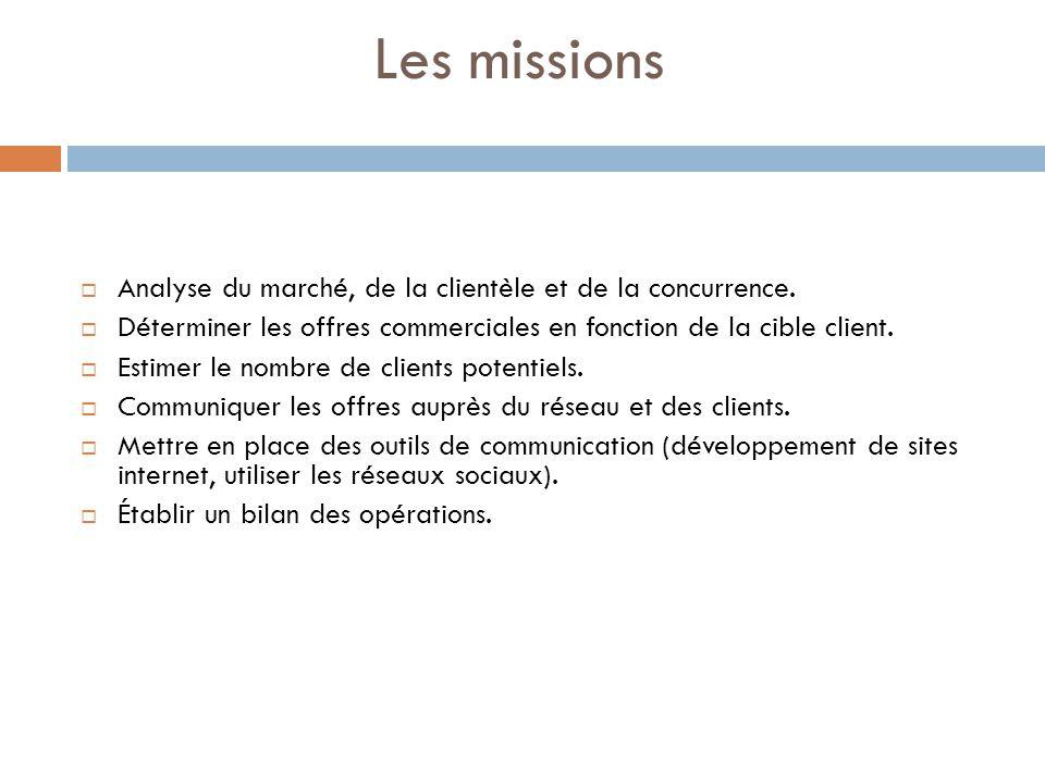 Les missions Analyse du marché, de la clientèle et de la concurrence. Déterminer les offres commerciales en fonction de la cible client. Estimer le no