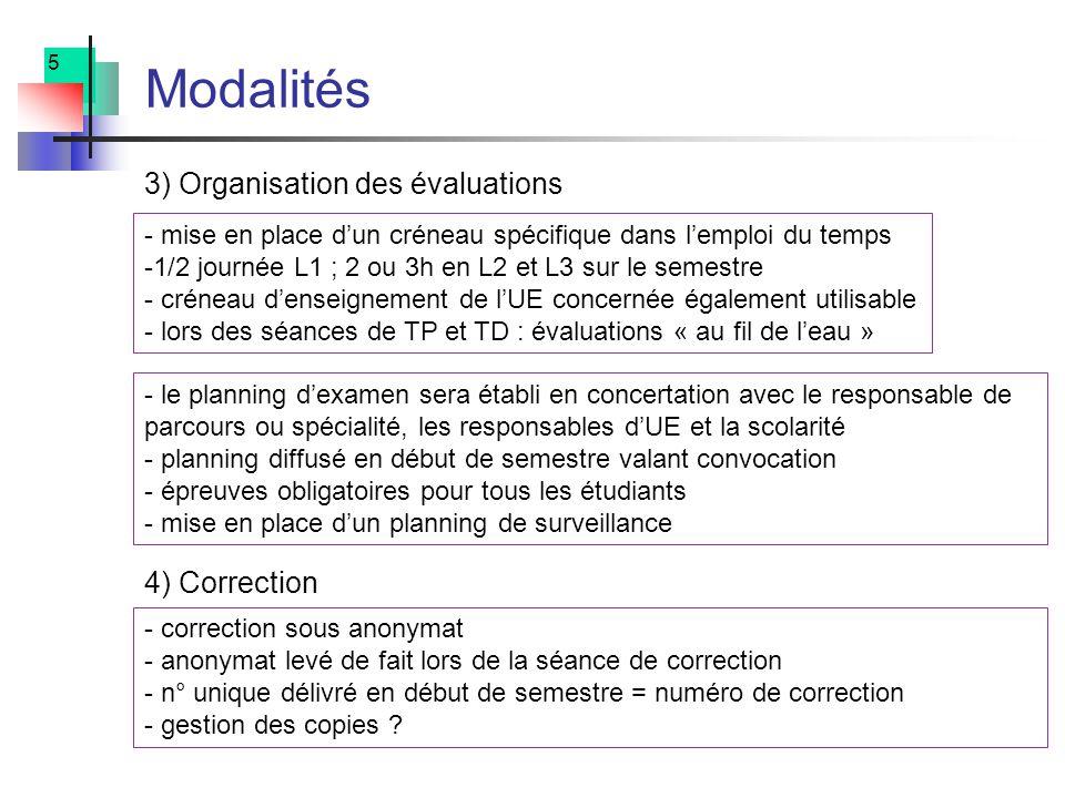 5 Modalités - mise en place dun créneau spécifique dans lemploi du temps -1/2 journée L1 ; 2 ou 3h en L2 et L3 sur le semestre - créneau denseignement de lUE concernée également utilisable - lors des séances de TP et TD : évaluations « au fil de leau » - le planning dexamen sera établi en concertation avec le responsable de parcours ou spécialité, les responsables dUE et la scolarité - planning diffusé en début de semestre valant convocation - épreuves obligatoires pour tous les étudiants - mise en place dun planning de surveillance 3) Organisation des évaluations - correction sous anonymat - anonymat levé de fait lors de la séance de correction - n° unique délivré en début de semestre = numéro de correction - gestion des copies .
