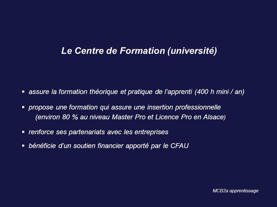 Le Centre de Formation (université) assure la formation théorique et pratique de lapprenti (400 h mini / an) propose une formation qui assure une inse