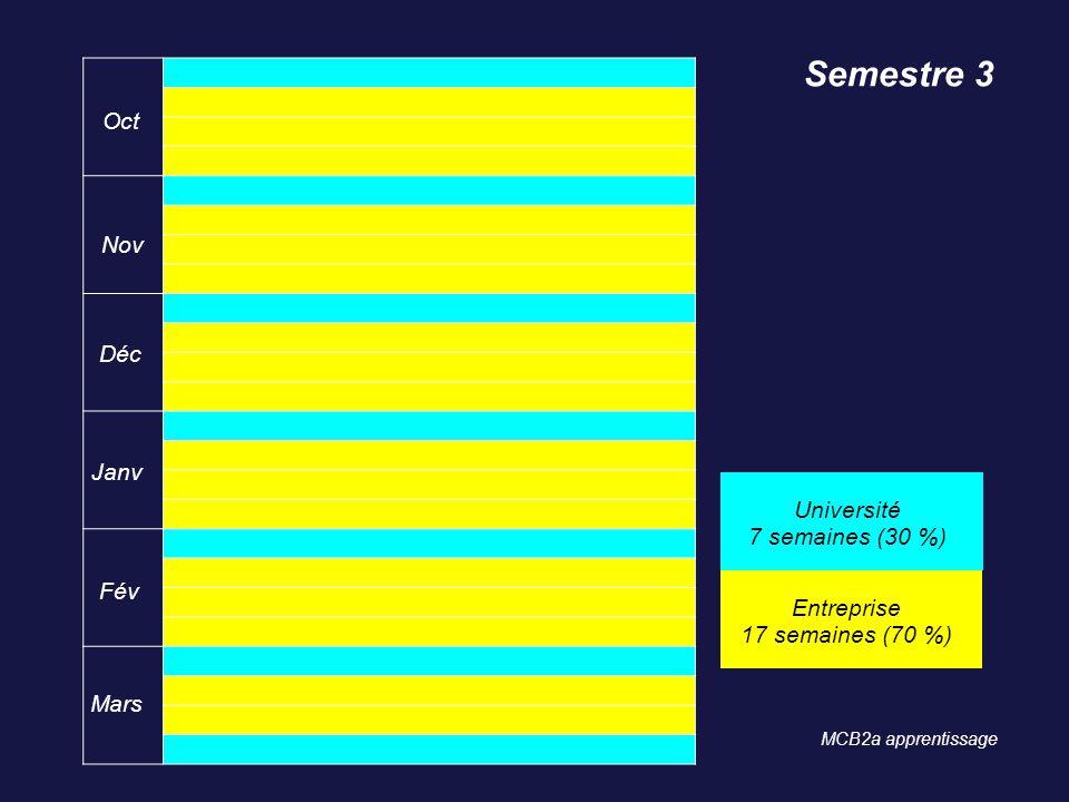 Oct Nov Déc Janv Fév Mars Semestre 3 Université 7 semaines (30 %) Entreprise 17 semaines (70 %) MCB2a apprentissage