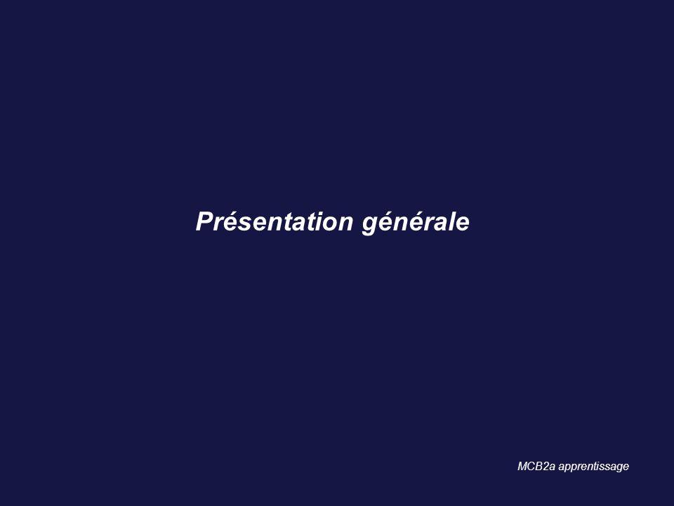 Présentation générale MCB2a apprentissage