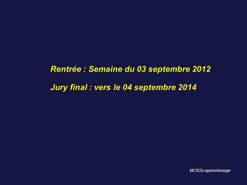 Rentrée : Semaine du 03 septembre 2012 Jury final : vers le 04 septembre 2014 MCB2a apprentissage