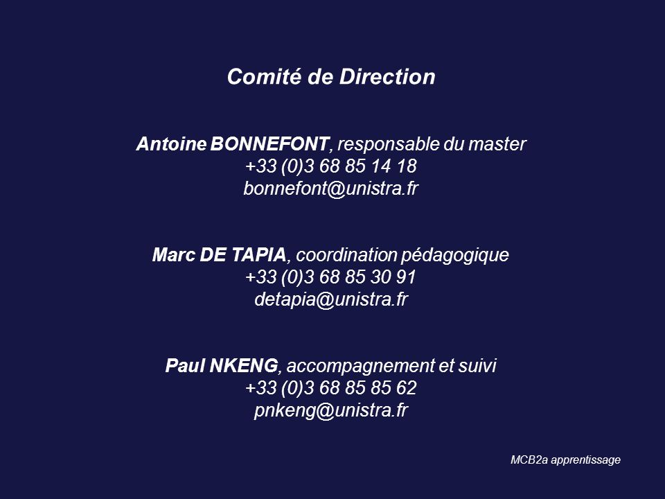 Comité de Direction Antoine BONNEFONT, responsable du master +33 (0)3 68 85 14 18 bonnefont@unistra.fr Marc DE TAPIA, coordination pédagogique +33 (0)