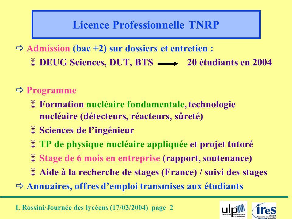 I. Rossini/Journée des lycéens (17/03/2004) page 2 Licence Professionnelle TNRP Admission (bac +2) sur dossiers et entretien : DEUG Sciences, DUT, BTS