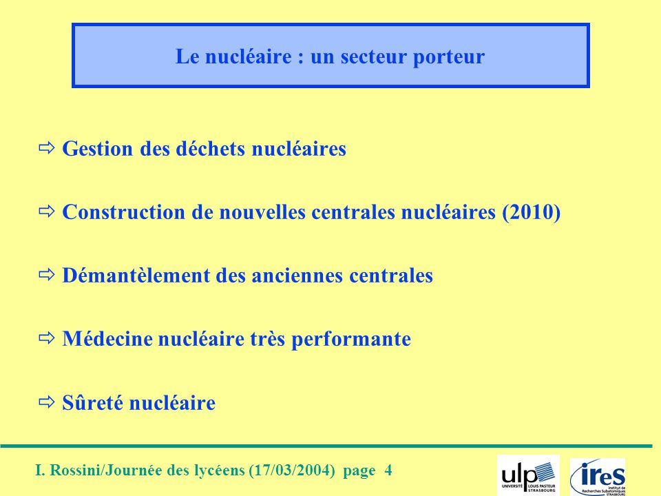 I. Rossini/Journée des lycéens (17/03/2004) page 4 Le nucléaire : un secteur porteur Gestion des déchets nucléaires Construction de nouvelles centrale