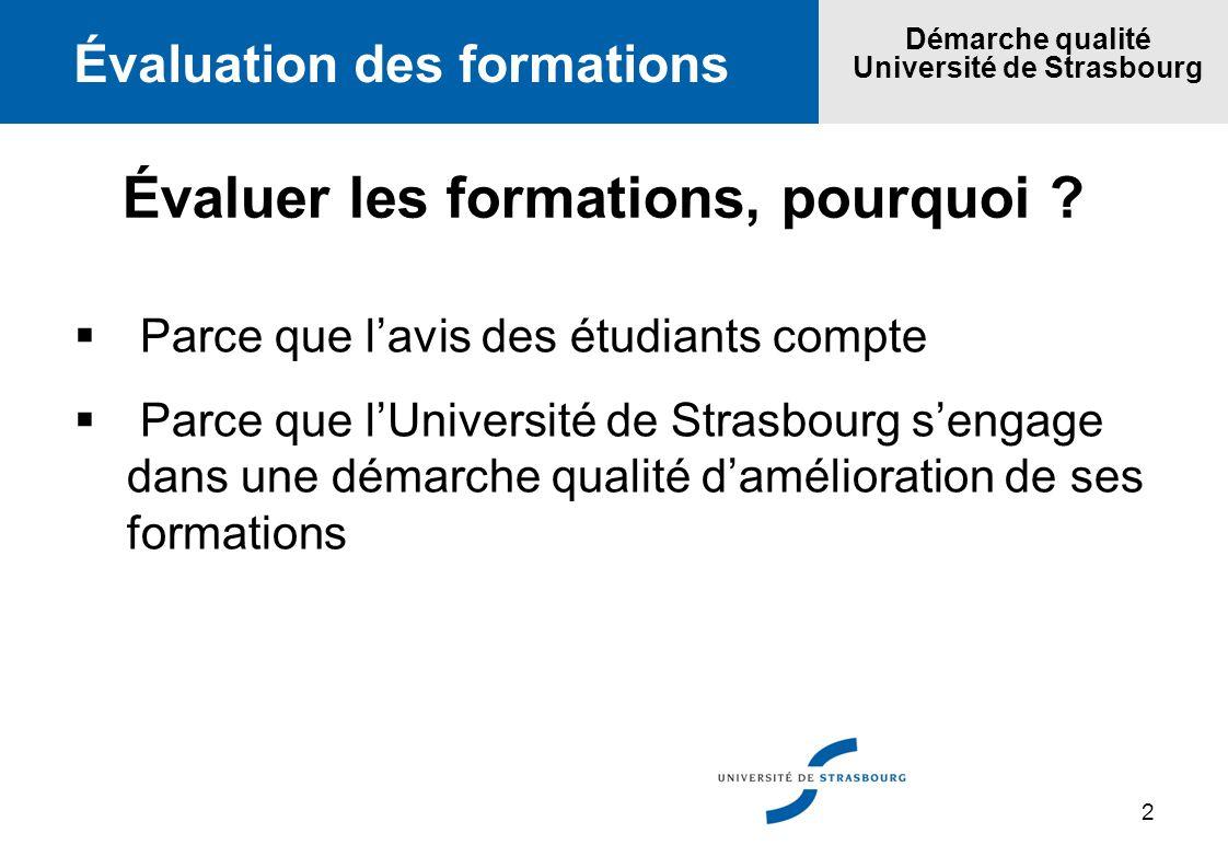 2 Évaluation des formations Démarche qualité Université de Strasbourg Évaluer les formations, pourquoi ? Parce que lavis des étudiants compte Parce qu