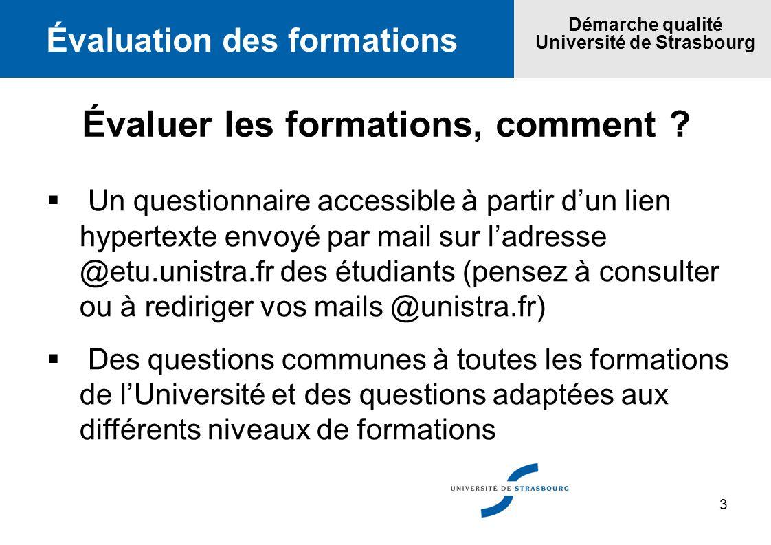3 Évaluation des formations Démarche qualité Université de Strasbourg Évaluer les formations, comment ? Un questionnaire accessible à partir dun lien